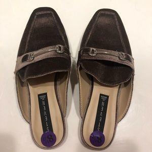 Steve Madden velvet feel loafer slides with buckle